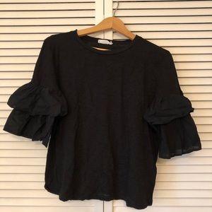Black LUSH Tee Shirt with Ruffle Sleeves